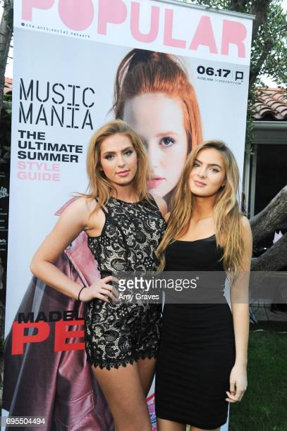 Saxon Sharbino and Brighton Sharbino attend the Popular X Wildfox Cover Launch Event For Madelaine Petsch in Los Angeles on June 12 2017 in Los...