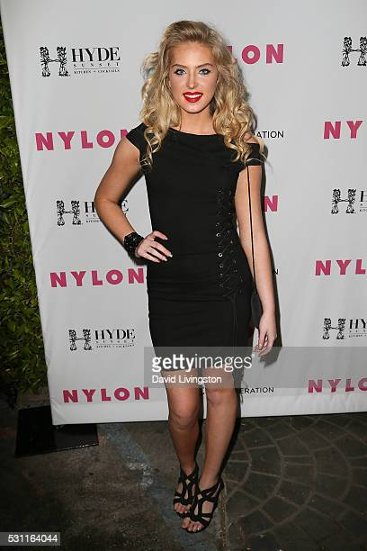 Saxon Sharbino arrives at NYLON and BCBGeneration's Annual Young Hollywood May Issue Event at HYDE Sunset Kitchen Cocktails on May 12 2016 in West...
