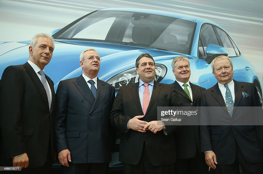 Saxony Governor Stanislaw Tillich, Volkswagen Chairman <a gi-track='captionPersonalityLinkClicked' href=/galleries/search?phrase=Martin+Winterkorn&family=editorial&specificpeople=840091 ng-click='$event.stopPropagation()'>Martin Winterkorn</a>, German Vice Chancellor and Economy and Energy Minister <a gi-track='captionPersonalityLinkClicked' href=/galleries/search?phrase=Sigmar+Gabriel&family=editorial&specificpeople=543927 ng-click='$event.stopPropagation()'>Sigmar Gabriel</a>, Porsche Leipzig Managing Director Siegfried Buelow and Porsche Governing Board Chairman Wolfgang Porsche attend the official opening of the new Porsche Macan factory at the Porsche plant on February 11, 2014 in Leipzig, Germany. Porsche plans to produce 50,000 of the new small SUV Macan annually.