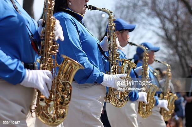 Saxophone players in a marching band