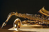 Saxophone with music sheet