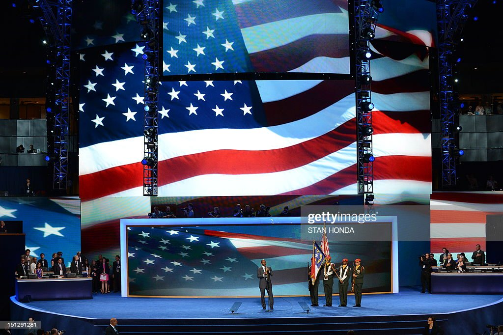 Saxophonist Branford Marsalis plays the National Anthem during the presentation of the Colors at the Time Warner Cable Arena in Charlotte, North Carolina, on September 5, 2012 on the second day of the Democratic National Convention (DNC). The DNC is expected to nominate US President Barack Obama to run for a second term as president on September 6th. AFP PHOTO Stan HONDA