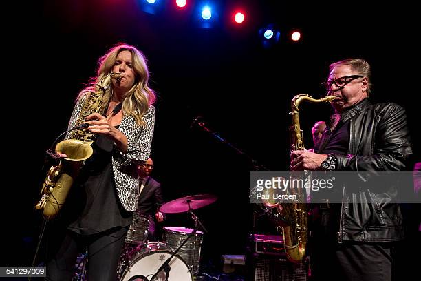Saxophonist Hans Dulfer performs on stage with his daughter Candy Dulfer Wenneker Schiedam Netherlands 4 January 2015
