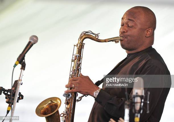 Saxophonist James Carter plays the late Don Byas's tenor saxophone at the Newport Jazz Festival in Newport Rhode Island on August 2 2015 AFP PHOTO...