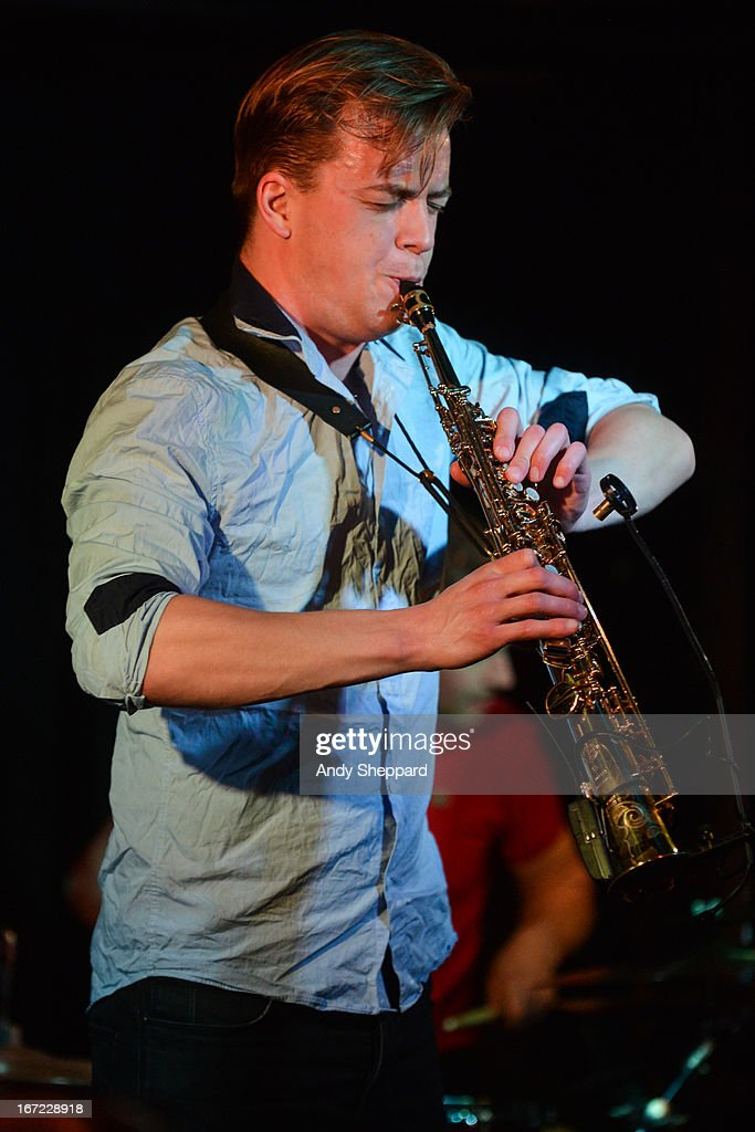 Saxophonist Marius Neset performs on stage at Pizza Express Jazz Club on April 22, 2013 in London, England.