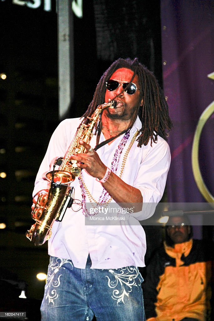 Saxophonist Reggie Smith Jr. performs with Dwayne Dopsie & The Zydeco Hellraisers during the Verizon Super Bowl Boulevard at Woldenberg Park on February 1, 2013 in New Orleans, Louisiana.