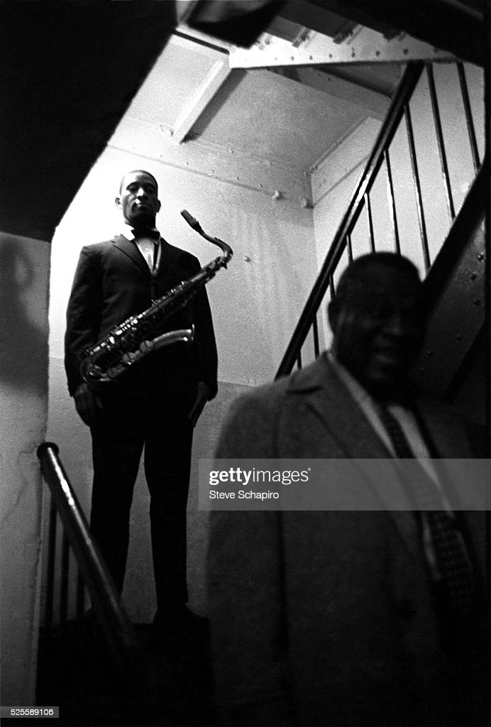 Saxophonist Sonny Rollins backstage at the Apollo Theater in New York City.