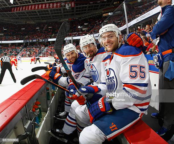 Say Cheese Mark Letestu Matt Hendricks and Zack Kassian of the Edmonton Oilers are all smiles on the bench against the Calgary Flames at Scotiabank...