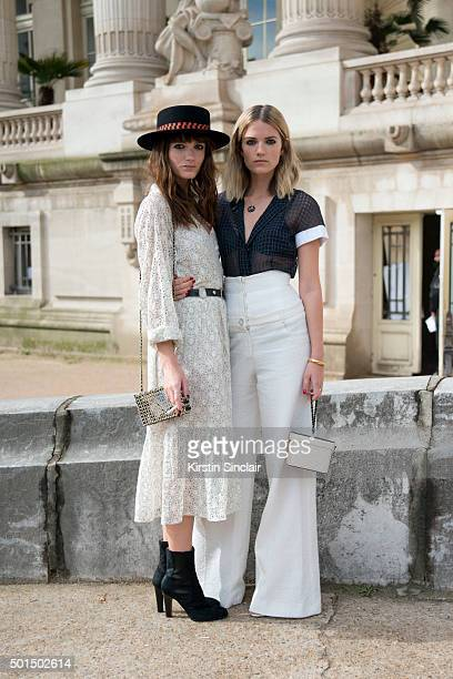 Say Lou Lou Musicians Miranda Anna Kilbey and Elektra June KilbeyJansson wear all Chanel on day 8 during Paris Fashion Week Spring/Summer 2016/17 on...