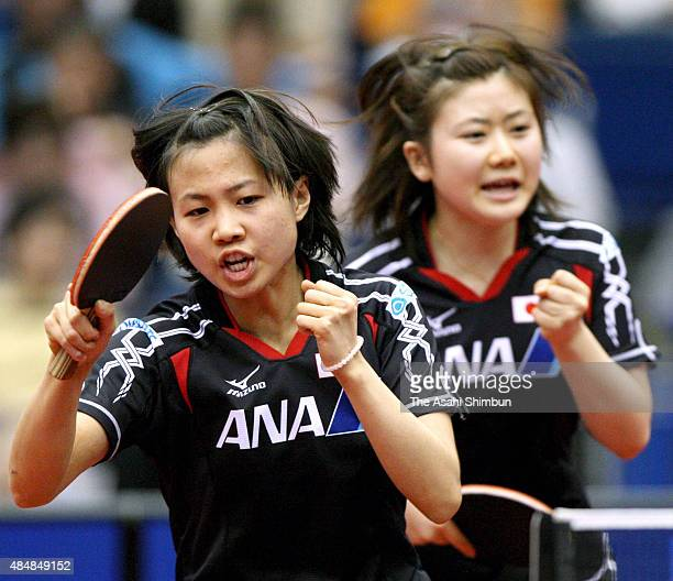 Sayaka hirano and Ai Fukuhara of Japan compete in the Womne's Doubles third round match during day five of the 2009 World Table Tennis Championships...