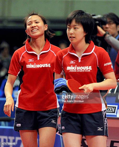 Sayaka Hirano and Kasumi Ishikawa leave after losing to Shiho Ono and Megumi Abe in the Women's Doubles quarter final during day six of the All Japan...
