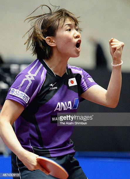 Sayaka Hirano of Japan celebrates a point during the game against Chez SzuYu of Chinese Taipei during day three of the 2014 World Team Table Tennis...