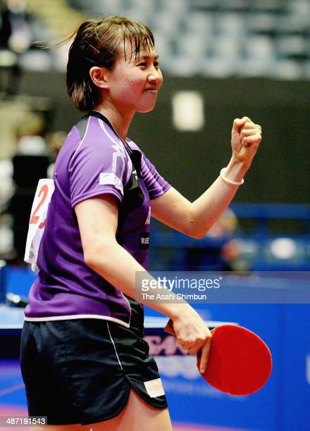 Sayaka Hirano of Japan celebrates winning the game against Viktoria Pavlovich of Belarus during day one of the 2014 World Team Table Tennis...