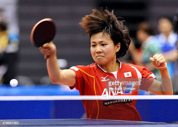 Sayaka Hirano of Japan competes in the Women's Singles first round match against Seo Hyowon during day two of the Japan Open Table Tennis at Green...