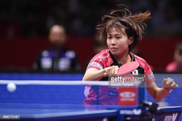 Sayaka Hirano of Japan plays a forehand against Shiwen Liu of China during day eight of the 2014 World Team Table Tennis Championships at Yoyogi...