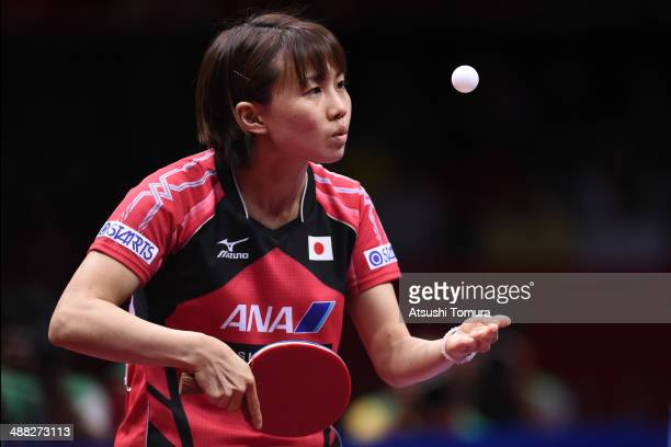 Sayaka Hirano of Japan serves against Shiwen Liu of China during day eight of the 2014 World Team Table Tennis Championships at Yoyogi National...