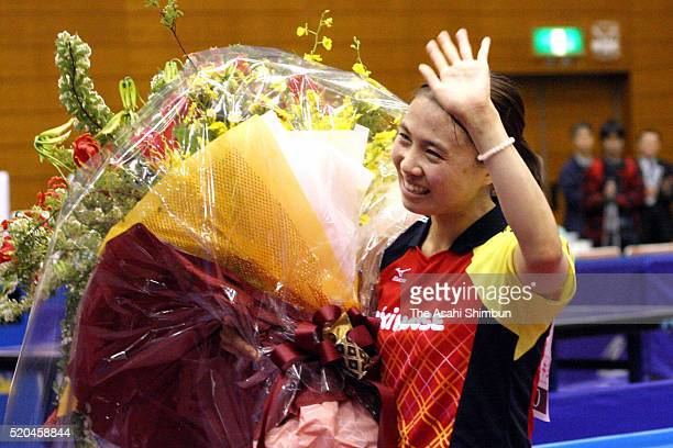 Sayaka Hirano waves after competing her final game during the Women's Singles second round against Yuko Fujii during the Table Tennis Japan League...