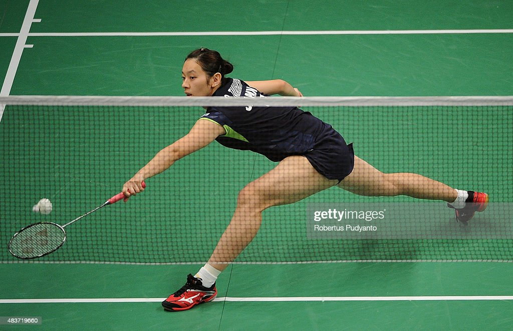 <a gi-track='captionPersonalityLinkClicked' href=/galleries/search?phrase=Sayaka+Takahashi&family=editorial&specificpeople=9743578 ng-click='$event.stopPropagation()'>Sayaka Takahashi</a> of Japan competes against Sabrina Jaquet of Switzerland in the 2015 Total BWF World Championship at Istora Senayan on August 12, 2015 in Jakarta, Indonesia.