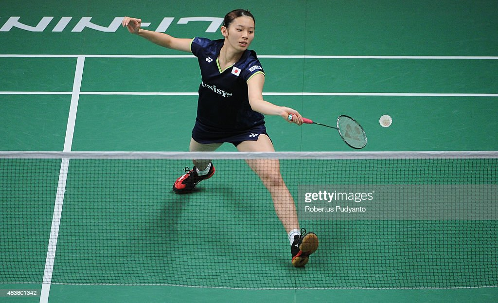 <a gi-track='captionPersonalityLinkClicked' href=/galleries/search?phrase=Sayaka+Takahashi&family=editorial&specificpeople=9743578 ng-click='$event.stopPropagation()'>Sayaka Takahashi</a> of Japan competes against Saina Nehwal of India in the 2015 Total BWF World Championship at Istora Senayan on August 13, 2015 in Jakarta, Indonesia.