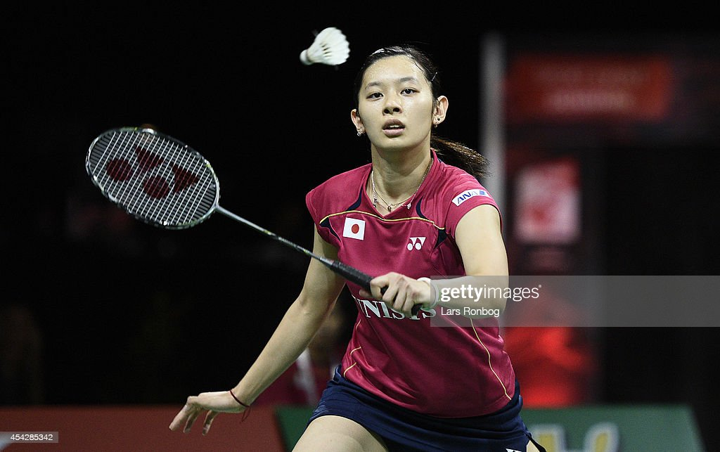 <a gi-track='captionPersonalityLinkClicked' href=/galleries/search?phrase=Sayaka+Takahashi&family=editorial&specificpeople=9743578 ng-click='$event.stopPropagation()'>Sayaka Takahashi</a> of Japan in action during the Li-Ning BWF World Badminton Championships at Ballerup Super Arena on August 28, 2014 in Copenhagen, Denmark.