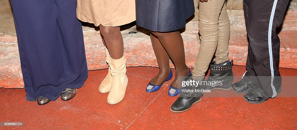 Saycon Sengbloh, Akosua Busia, Lupita NyongÕo, Zainab Jah and Pascale Armand, shoe detail, attend the meet and greet the all-female cast and creative team and launch of the 10,000 girls initiative of Broadway's 'Eclipsed' at the Golden Theatre on February 11, 2016 in New York City.