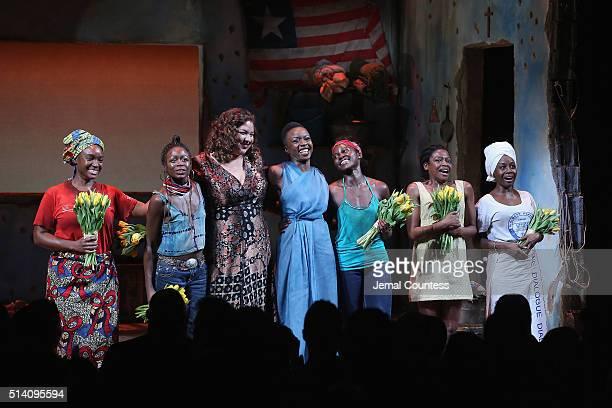 Saycon Sengbloh Zainab Jah Liesl Tommy Danai Gurira Lupita Nyong'o Pascale Armand Akosua Busia appear onstage during the 'Eclipsed' broadway opening...