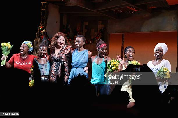 Saycon Sengbloh Zainab Jah Liesl Tommy Lupita Nyong'o Pascale Armand Akosua Busia appear onstage during the 'Eclipsed' broadway opening night at The...