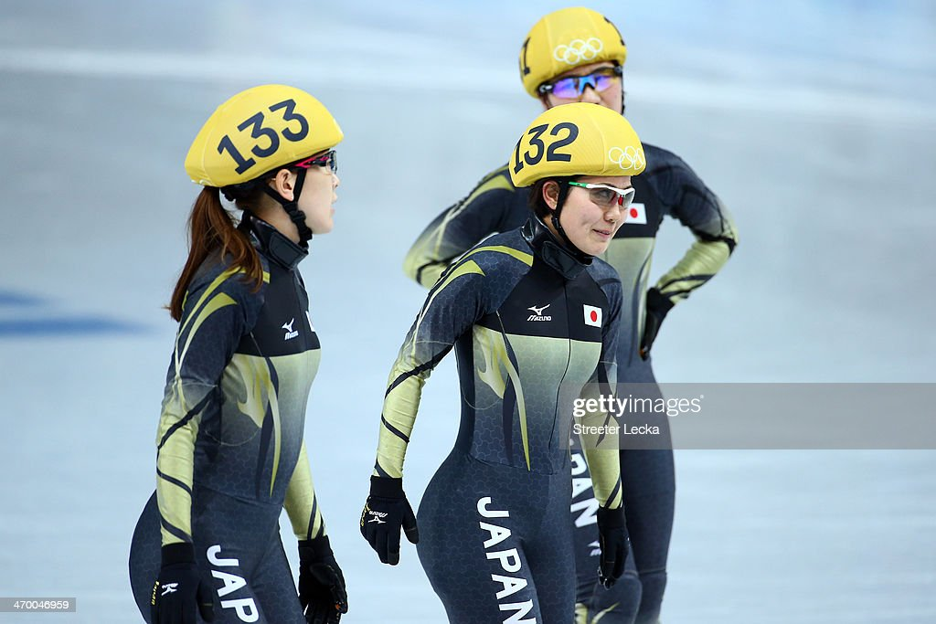 <a gi-track='captionPersonalityLinkClicked' href=/galleries/search?phrase=Sayuri+Shimizu&family=editorial&specificpeople=7508816 ng-click='$event.stopPropagation()'>Sayuri Shimizu</a>, <a gi-track='captionPersonalityLinkClicked' href=/galleries/search?phrase=Biba+Sakurai&family=editorial&specificpeople=4597425 ng-click='$event.stopPropagation()'>Biba Sakurai</a> and <a gi-track='captionPersonalityLinkClicked' href=/galleries/search?phrase=Yui+Sakai&family=editorial&specificpeople=6521438 ng-click='$event.stopPropagation()'>Yui Sakai</a> of Japan react after competing in the Short Track Ladies' 3000m Relay Final B at Iceberg Skating Palace on day 11 of the 2014 Sochi Winter Olympics on February 18, 2014 in Sochi, Russia.