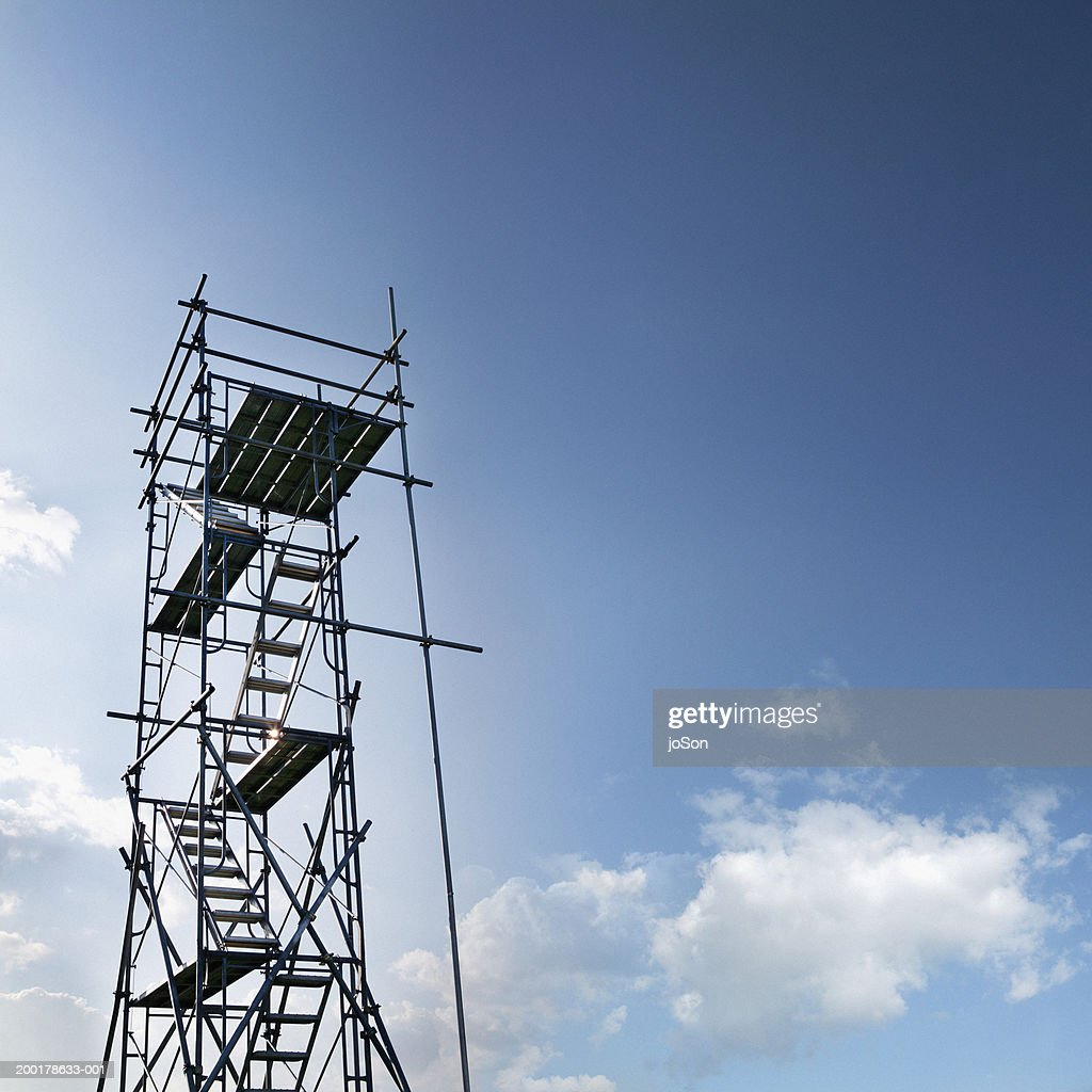 Scaffolding against sky, low angle view