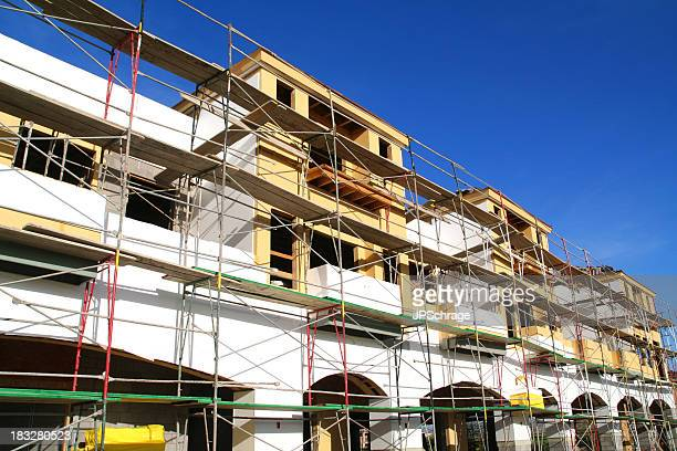 Scaffolding around a construction site