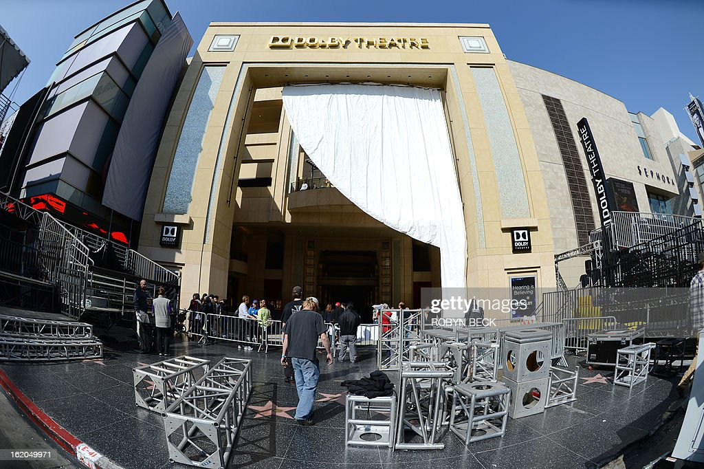 Scaffolding joints are seen in front of the Dolby Theatre on Hollywood Boulevard as the week-long process of constructing the red carpet for the 85th Academy Awards ceremony begins, February 18, 2013 in Hollywood, California. A section of Hollywood Boulevard in front of the Dolby Theatre will be closed for the entire week as crews build press risers and fan bleachers and roll out the red carpet for the Academy Awards ceremony, which will take place on February 24 in the Dolby Theatre. AFP PHOTO Robyn BECK