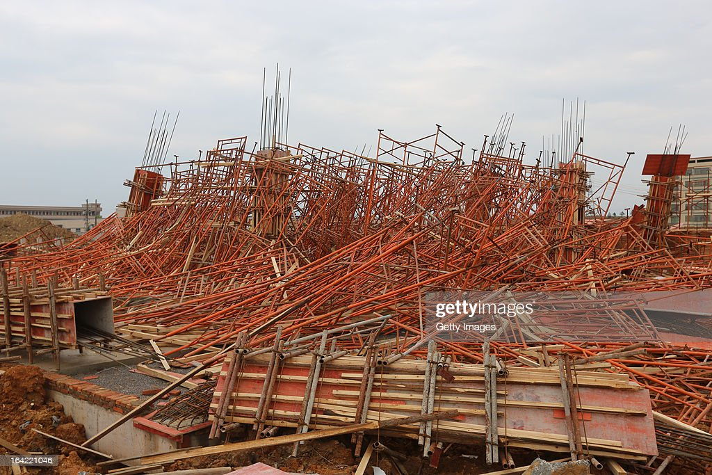 Scaffolding lies strewn across the ground after collapsing during a tornado on March 20, 2013 in Daoxian, China. Three people have been killed and about 50 others injured after a tornado struck Central China's Hunan Province early on Wednesday morning.