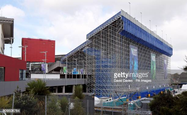 Scaffolding makes up the temporary stand behind the posts at Eden Park Auckland raising the capacity of the stadium to 60000
