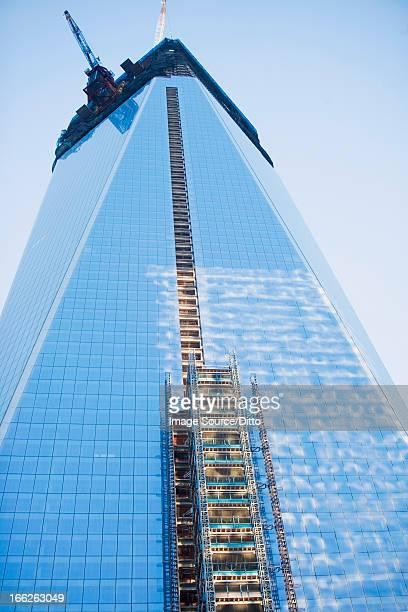 Scaffolding on urban skyscraper