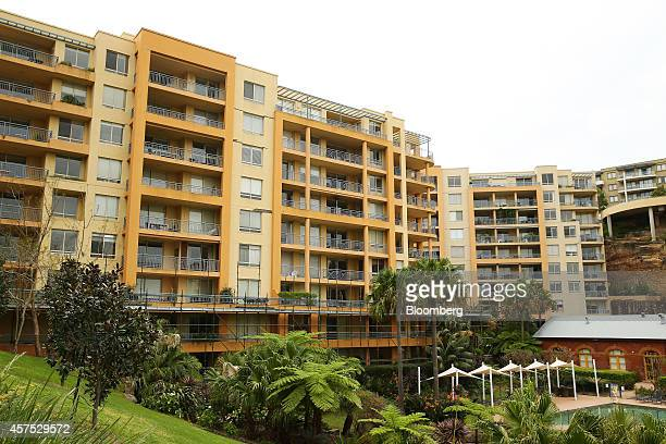 Scaffolding stands outside a residential apartment building in the suburb of Wollstonecraft in Sydney Australia on Saturday Oct 18 2014 Sydneys...