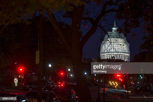Scaffolding surrounds the US Capitol Building while it undergoes repairs in Washington DC US on Wednesday Nov 5 2014 Republicans roared back in the...