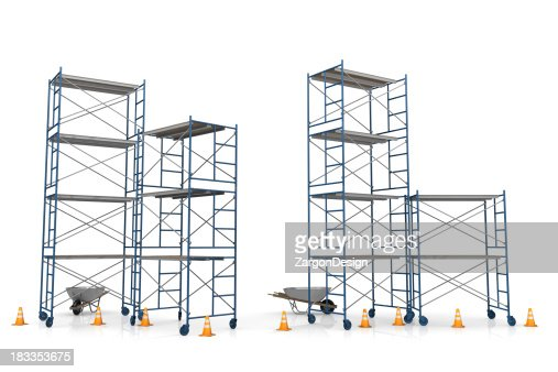 Scaffolding with construction cones on a white background