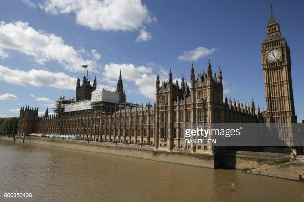 Scaffoldings is seen on top of the Palace of Westminster which houses the Houses of Parliament in central London on September 8 2016 Britain's...