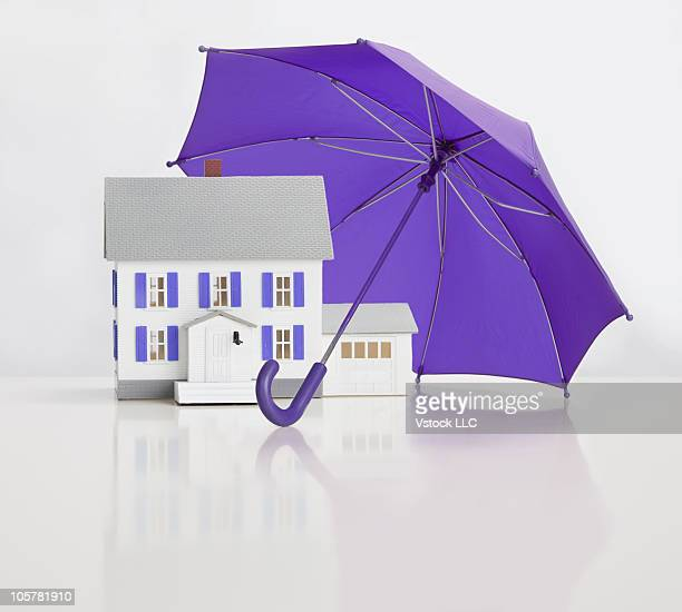 Scale model home and purple umbrella