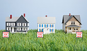 Scale model homes on grass