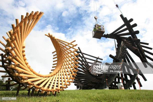 A scale model made from barbeque skewers sits beside the real scupture called Polestar being constructed on Portbridge round near Letterkenny in Co...