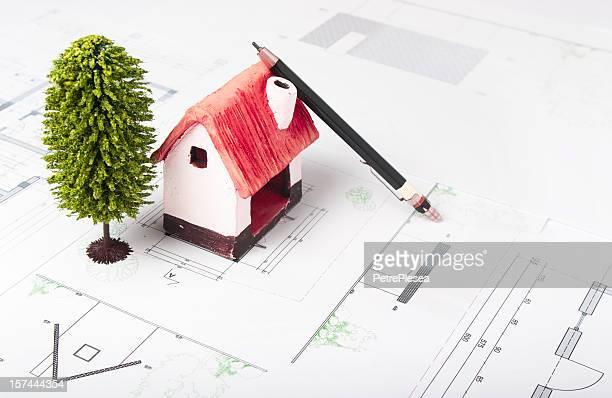 Échelle d'une maison modèle écologique et l'architecture plan