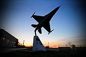April 16th, 2009 - A scale model of an F-16 C Fighting Falcon is displayed in front of the Headquarters Building at the 177th Fighter Wing, NJANG. The 177th Fighter Wing is located at Atlantic City IA