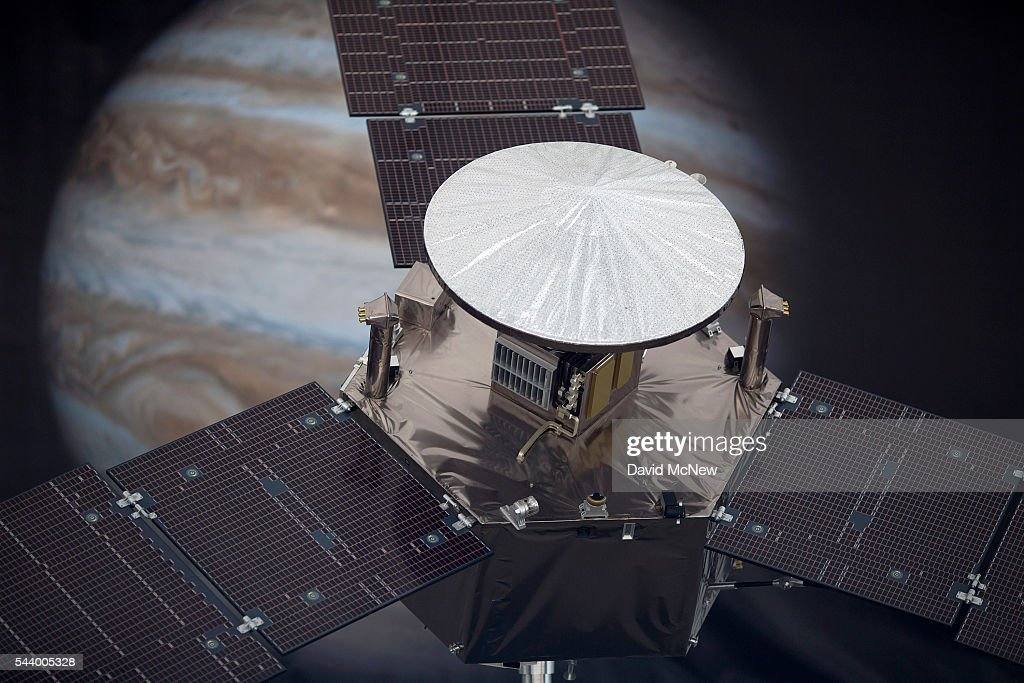 A 1/4 scale model of the Juno spacecraft is displayed as NASA officials and the public look forward to the Independence Day arrival of the the Juno spacecraft to Jupiter, at JPL on June 30, 2016 in Pasadena, California. After having traveling nearly 1.8 billion miles over the past five years, the NASA Juno spacecraft will arrival to Jupiter on the Fourth of July to go enter orbit and gather data to study the enigmas beneath the cloud tops of Jupiter. The risky $1.1 billion mission will fail if it does not enter orbit on the first try and overshoots the planet.