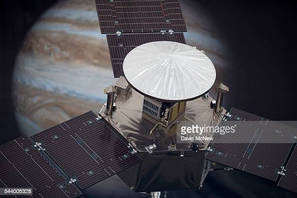 A 1/4 scale model of the Juno spacecraft is displayed as NASA officials and the public look forward to the Independence Day arrival of the the Juno...