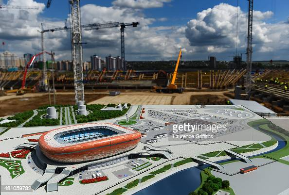 A scale model of the new stadium is presented on the construction site during a media tour of Russia 2018 FIFA World Cup venues on July 17 2015 in...