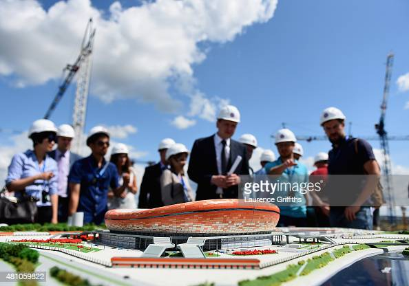 A scale model of the new stadium is presented to the media by Alexey Merkushkin ViceGovenor of the Republic of Mordovia Minister of Special...