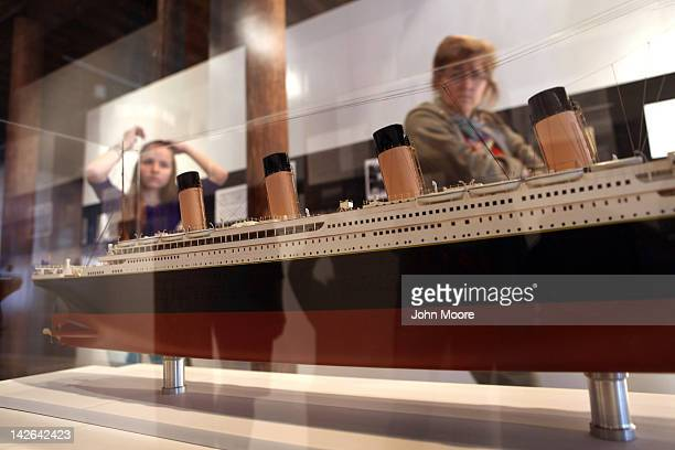 A scale model of the RMS Titanic sits on display at the opening of the 'Titanic at 100 Myth and Memory' exhibition on April 10 2012 in New York City...