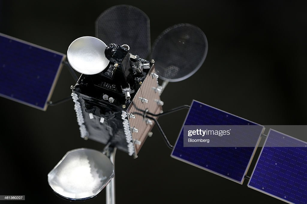 80 scale model of Turksat AS's Turksat-4A communications satellite, manufactured by Mitsubishi Electric Corp., sits on display during a ceremony marking the shipment of the satellite at the company's production facility at Kamakura Works in Kamakura, Kanagawa Prefecture, Japan, on Wednesday, Jan. 8, 2014. Turksat AS is Turkey's state-owned satellite operator. Photographer: Kiyoshi Ota/Bloomberg via Getty Images