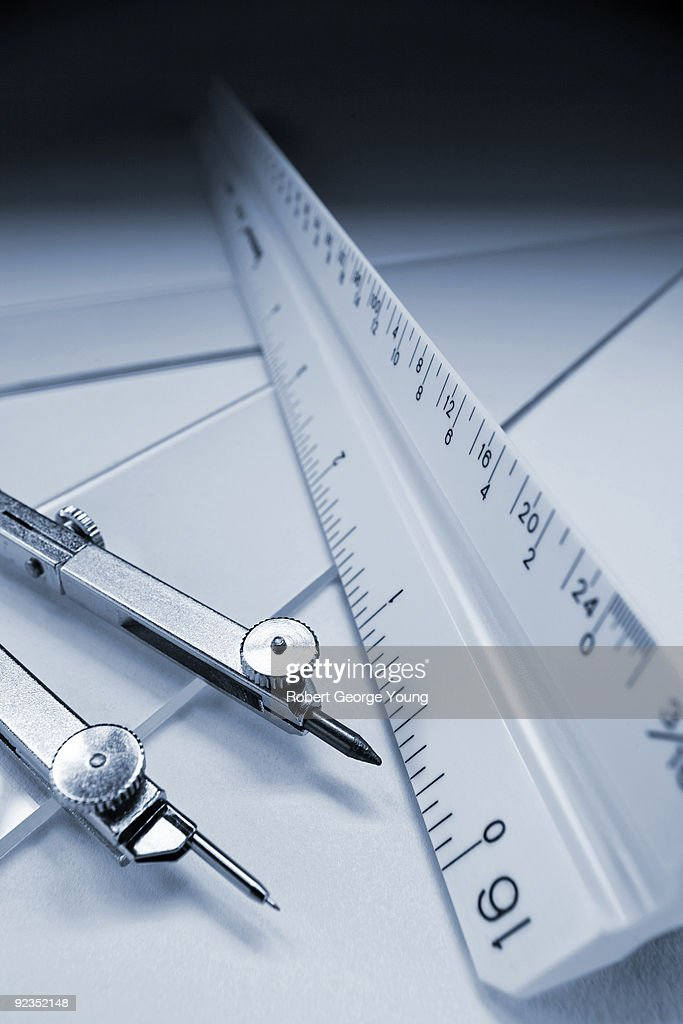 Scale Ruler, Triangle and Compass : Stock Photo